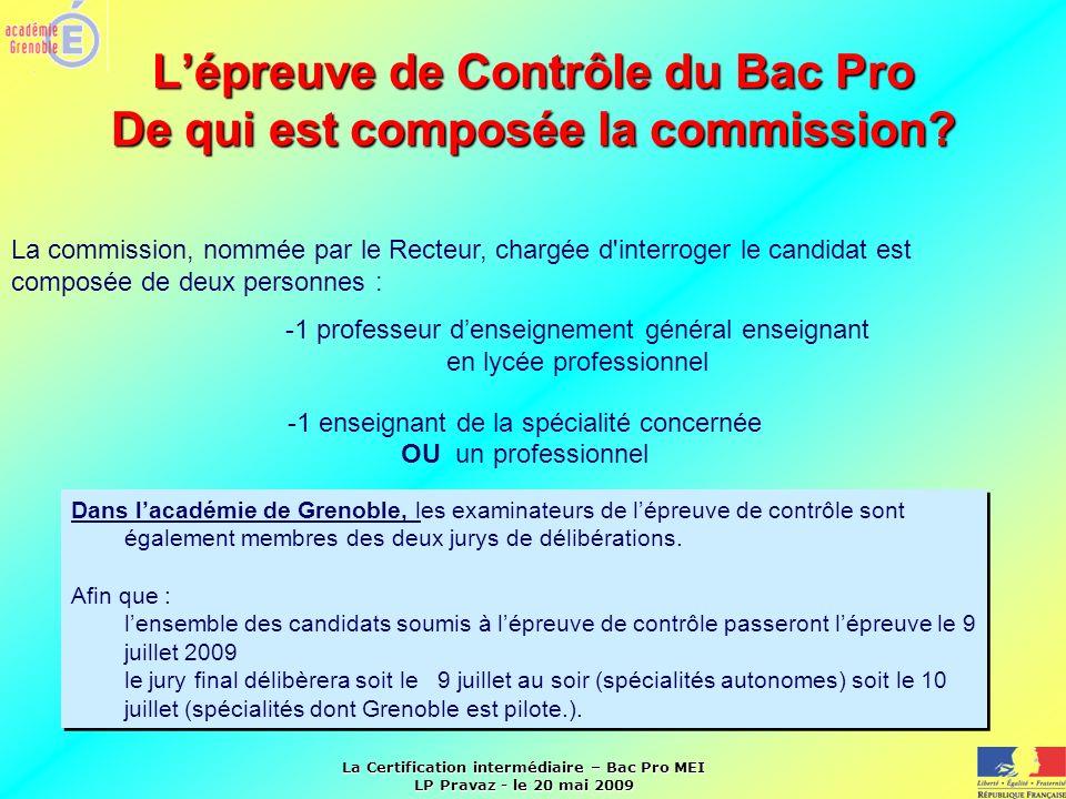 L'épreuve de Contrôle du Bac Pro De qui est composée la commission