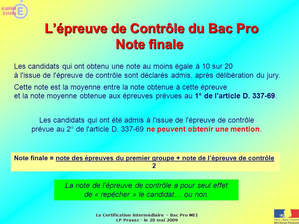 L'épreuve de Contrôle du Bac Pro Note finale