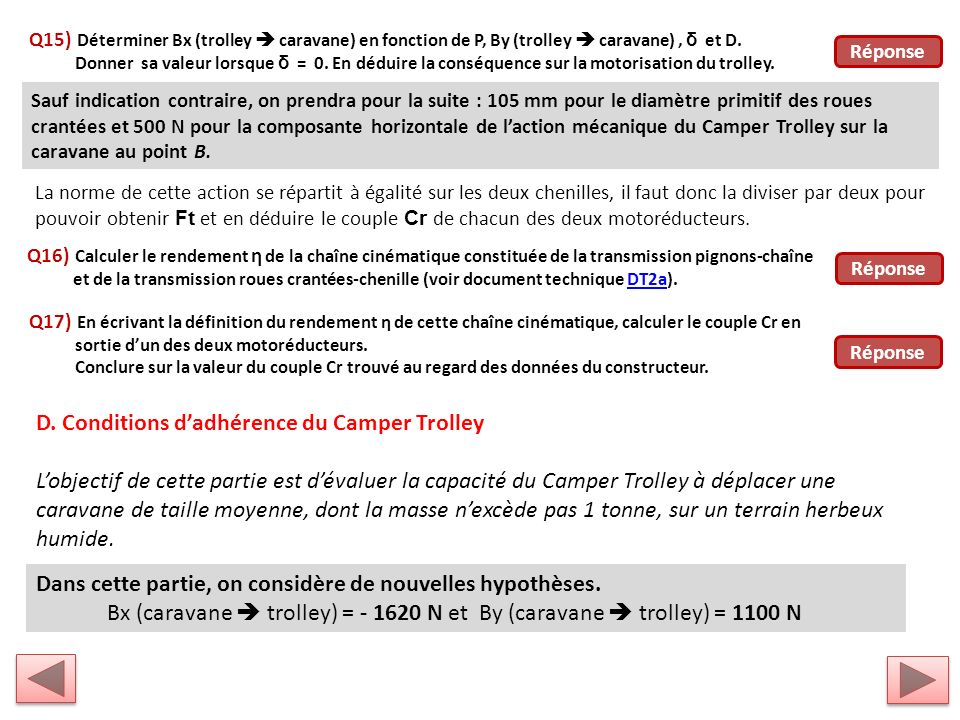D. Conditions d'adhérence du Camper Trolley
