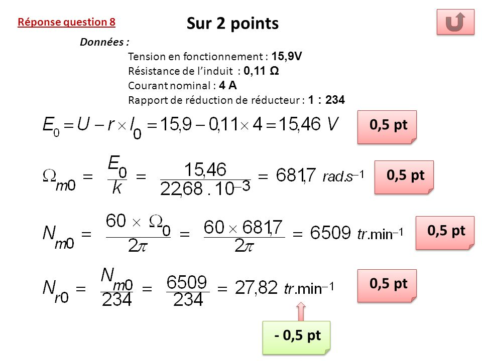 Sur 2 points 0,5 pt 0,5 pt 0,5 pt 0,5 pt - 0,5 pt Réponse question 8