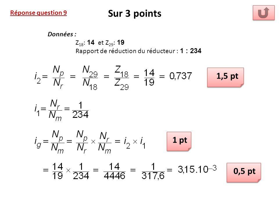 Sur 3 points 1,5 pt 1 pt 0,5 pt Réponse question 9 Données :
