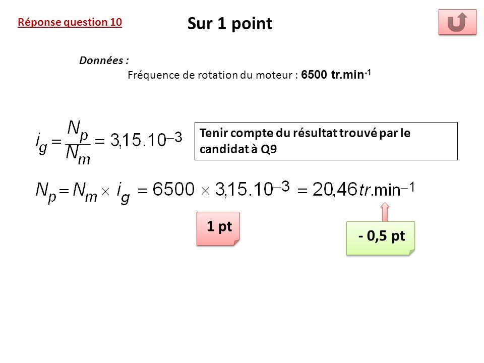 Sur 1 point Réponse question 10. Données : Fréquence de rotation du moteur : 6500 tr.min-1. Tenir compte du résultat trouvé par le candidat à Q9.