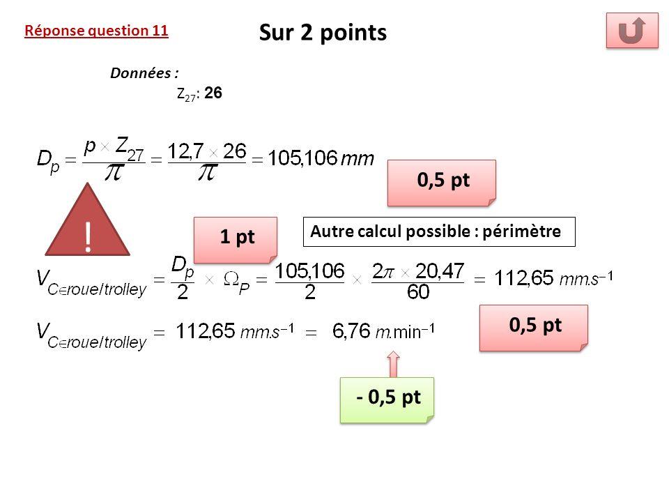 Sur 2 points Réponse question 11. Données : Z27: 26. 0,5 pt. ! 1 pt. Autre calcul possible : périmètre.