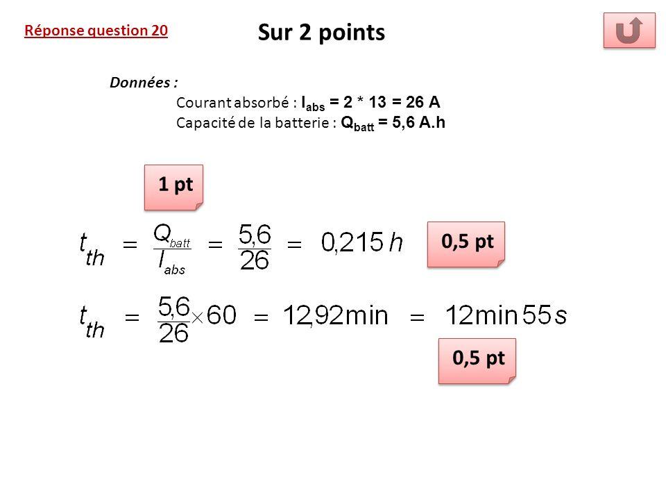 Sur 2 points 1 pt 0,5 pt 0,5 pt Réponse question 20 Données :