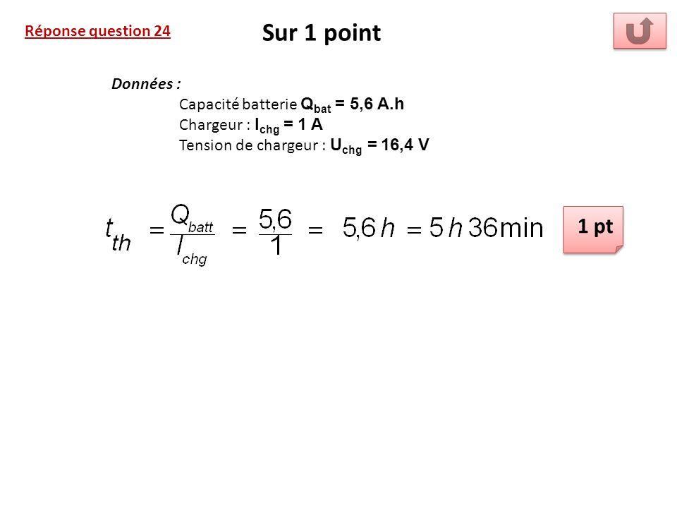 Sur 1 point 1 pt Réponse question 24 Données :