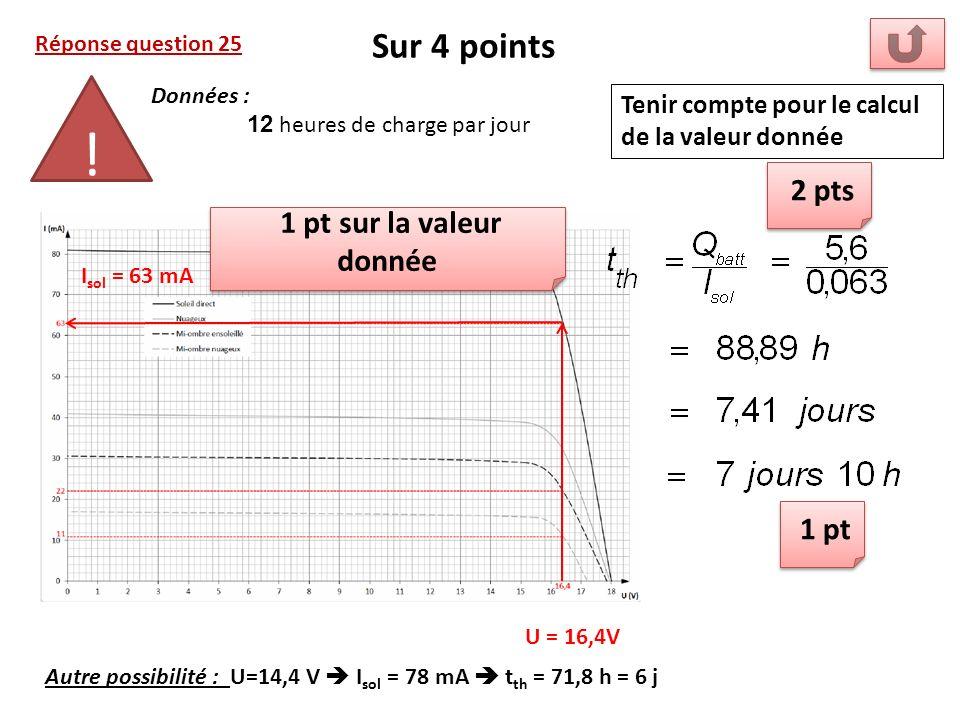 ! Sur 4 points 2 pts 1 pt sur la valeur donnée 1 pt