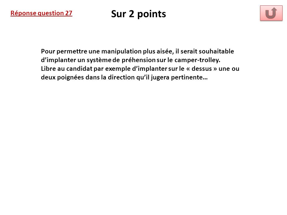 Sur 2 points Réponse question 27