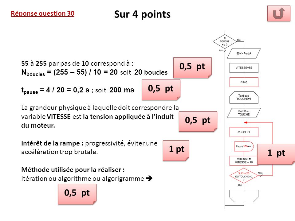 Sur 4 points 0,5 pt 0,5 pt 0,5 pt 1 pt 1 pt 0,5 pt Réponse question 30