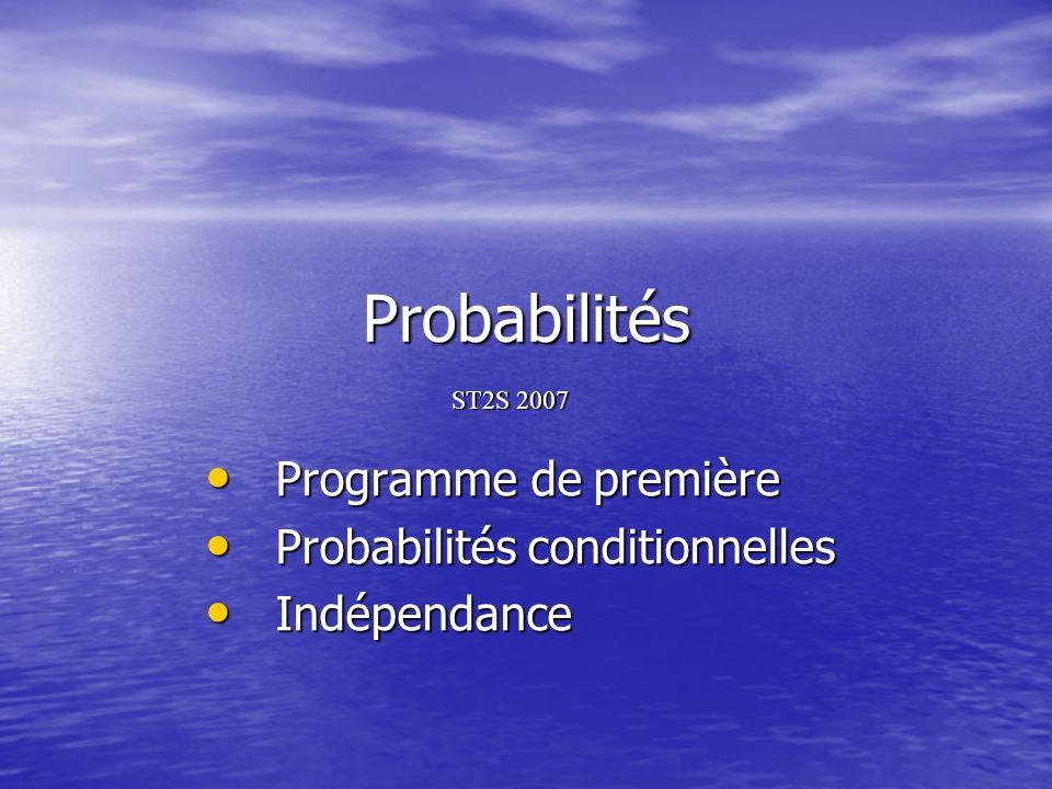 Programme de première Probabilités conditionnelles Indépendance