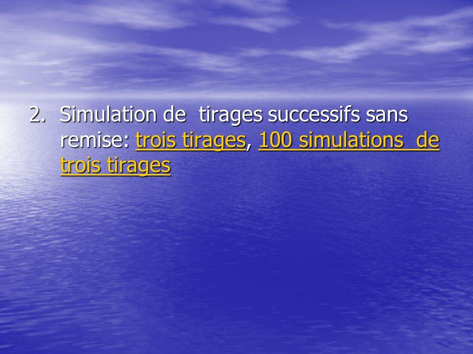 2. Simulation de tirages successifs sans remise: trois tirages, 100 simulations de trois tirages