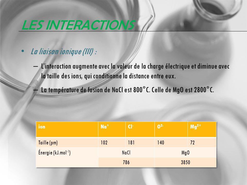 Les interactions La liaison ionique (III) :