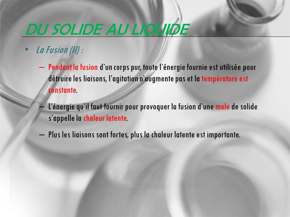 Du solide au liquide La Fusion (II) :