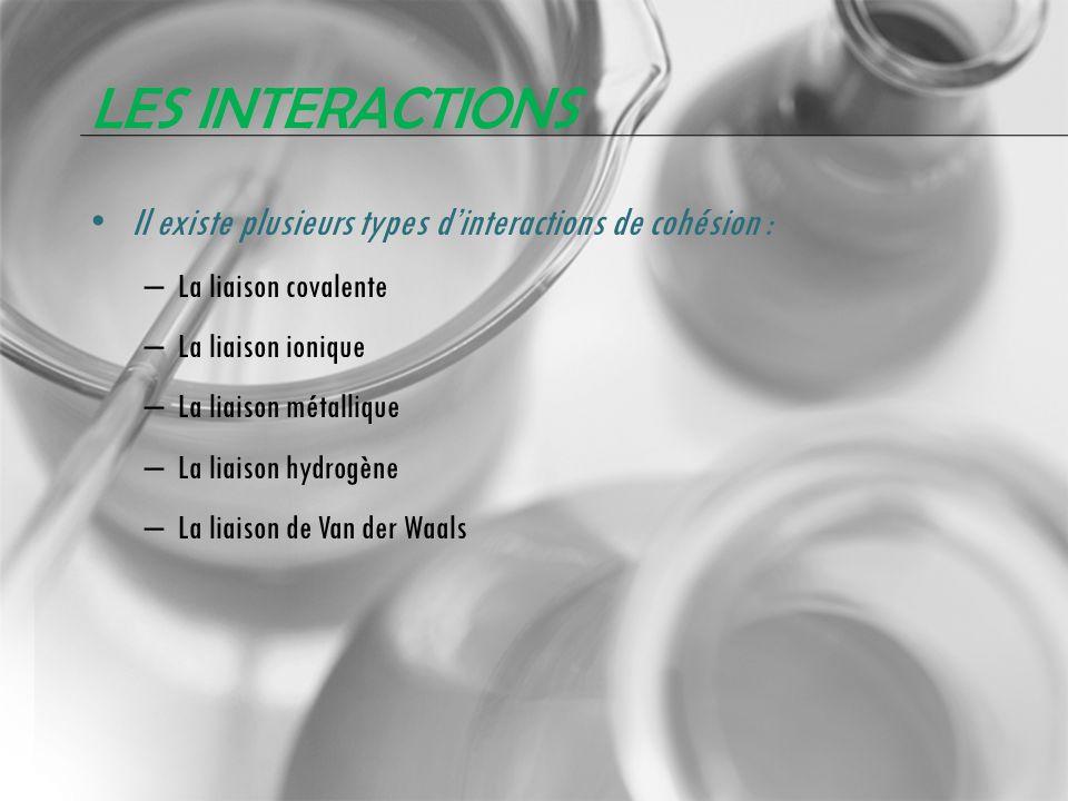 Les interactions Il existe plusieurs types d'interactions de cohésion : La liaison covalente. La liaison ionique.