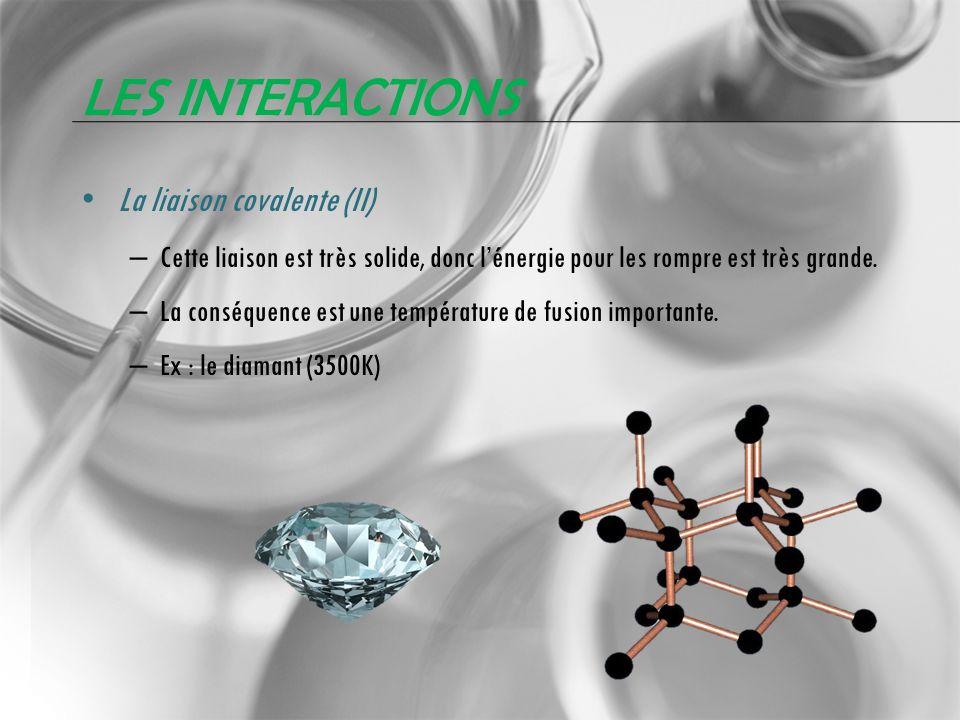 Les interactions La liaison covalente (II)