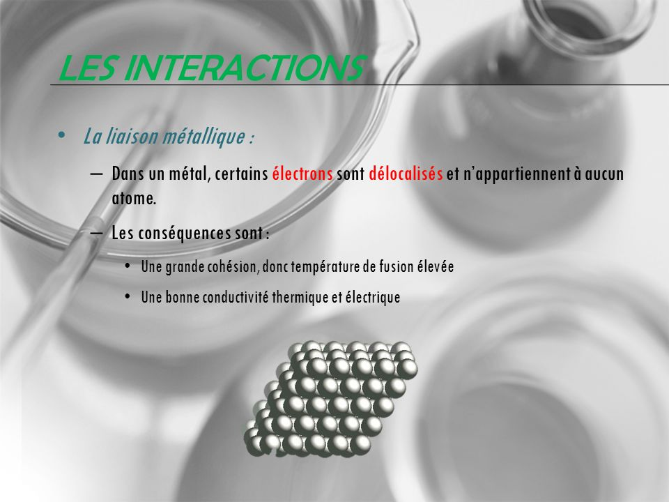 Les interactions La liaison métallique :