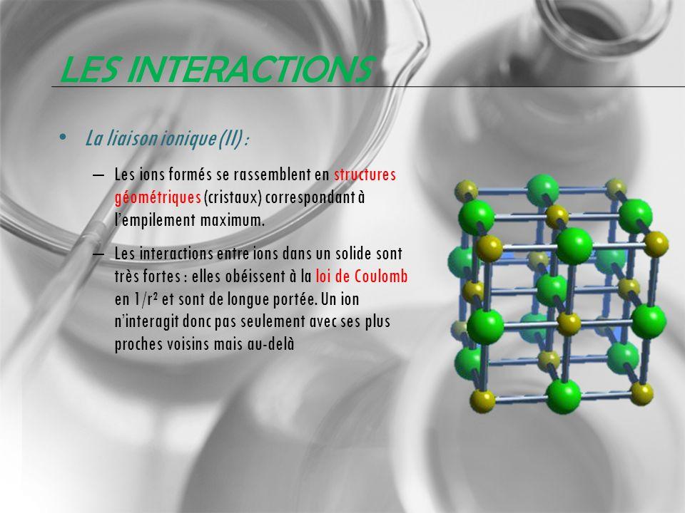 Les interactions La liaison ionique (II) :