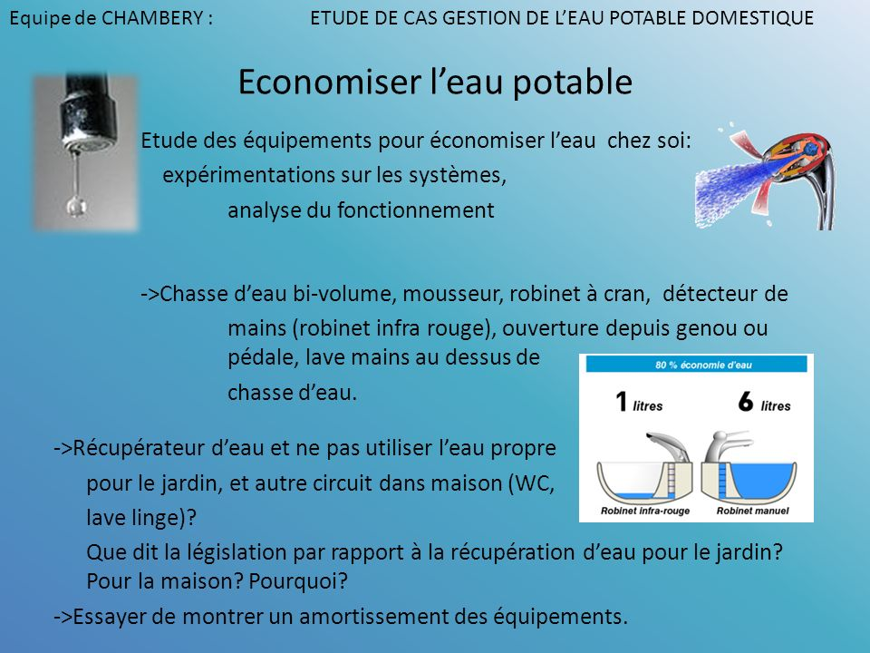 Economiser l'eau potable
