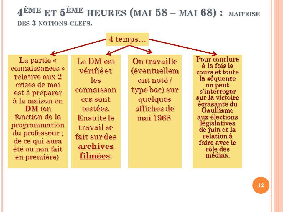 4ème et 5ème heures (mai 58 – mai 68) : maitrise des 3 notions-clefs.