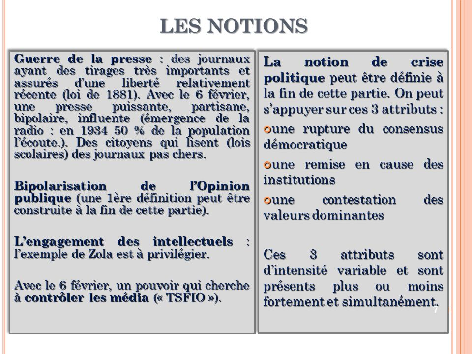 LES NOTIONS