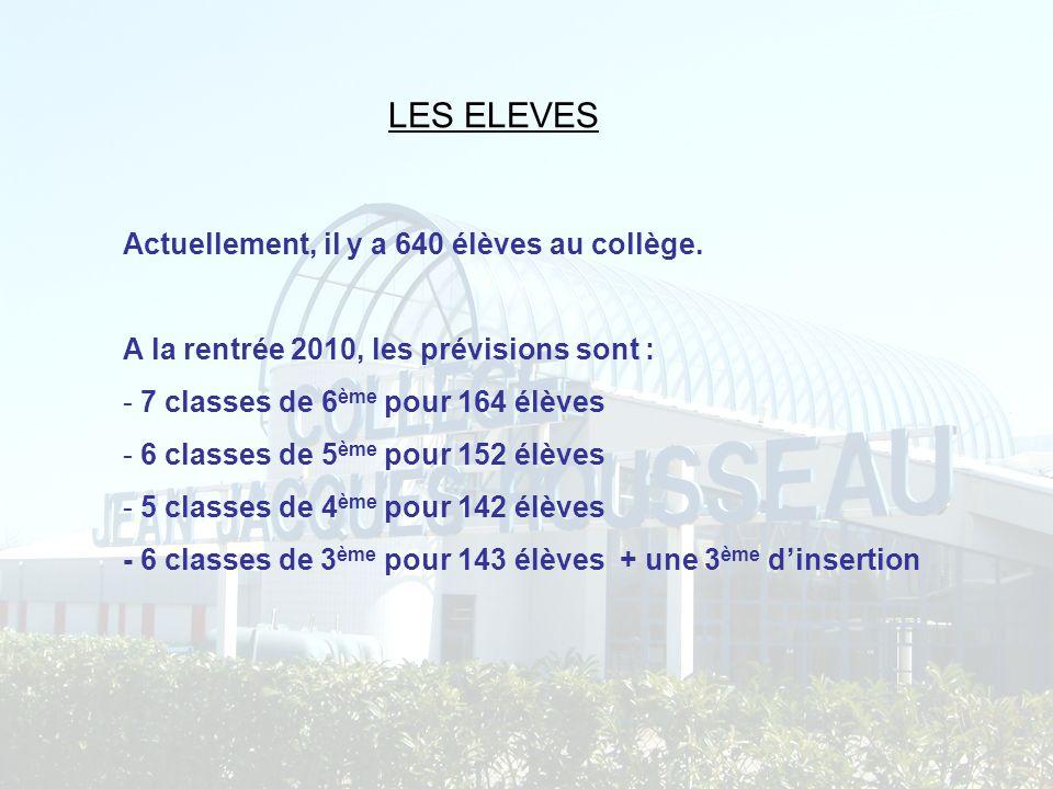 LES ELEVES Actuellement, il y a 640 élèves au collège.