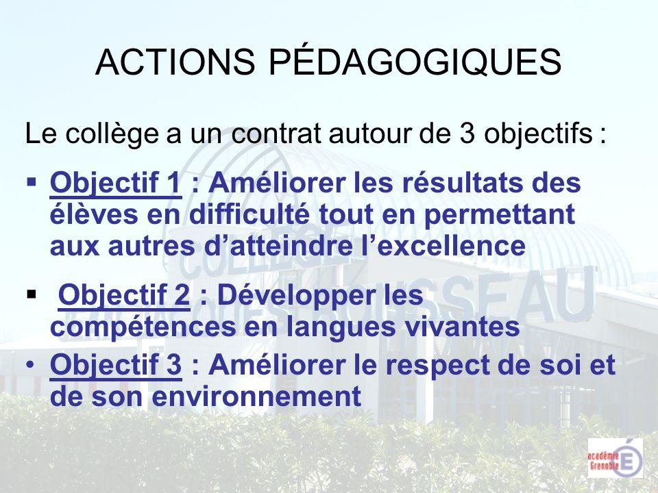 ACTIONS PÉDAGOGIQUES Le collège a un contrat autour de 3 objectifs :
