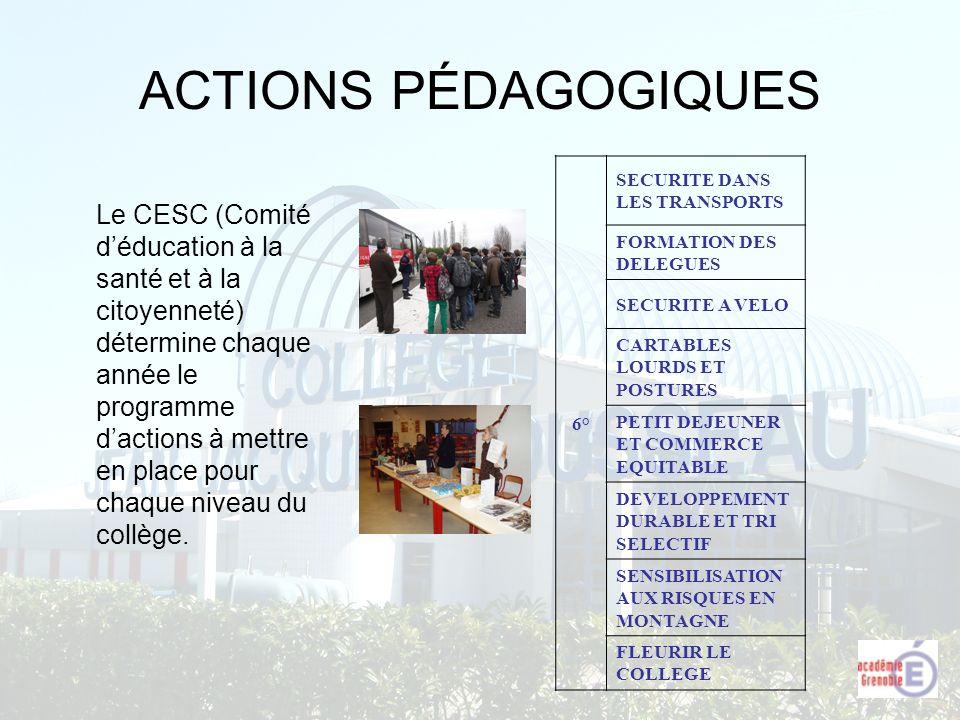 ACTIONS PÉDAGOGIQUES 6° SECURITE DANS LES TRANSPORTS. FORMATION DES DELEGUES. SECURITE A VELO. CARTABLES LOURDS ET POSTURES.