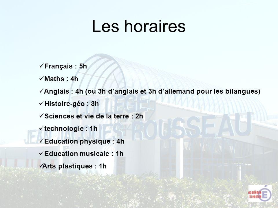Les horaires Français : 5h Maths : 4h