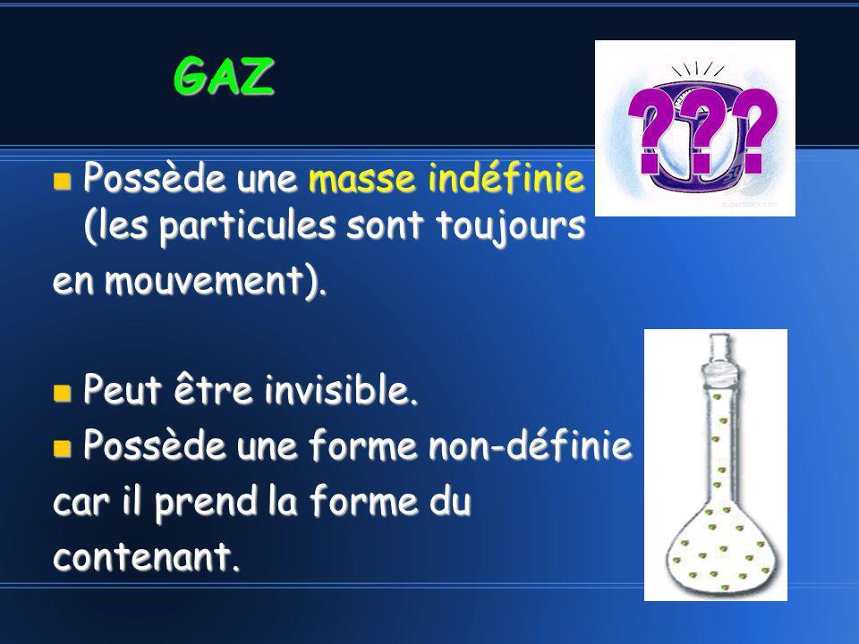 GAZ Possède une masse indéfinie (les particules sont toujours