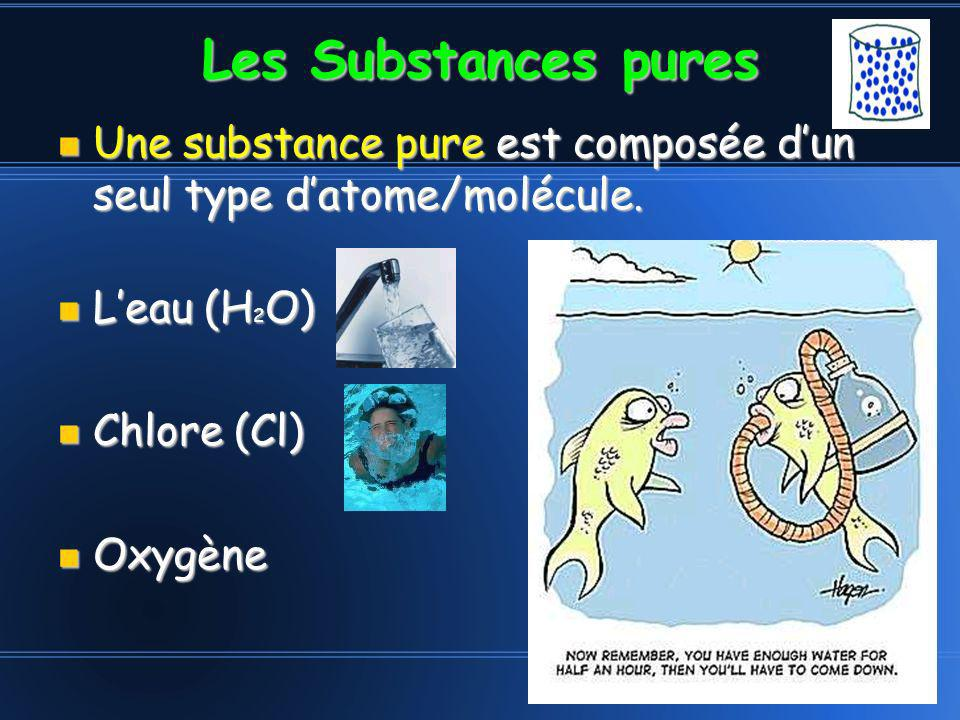 Les Substances pures Une substance pure est composée d'un seul type d'atome/molécule. L'eau (H2O)