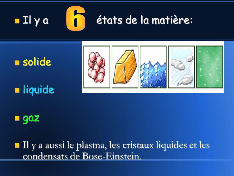 6 Il y a états de la matière: solide liquide gaz