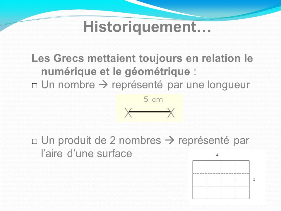 Historiquement… Les Grecs mettaient toujours en relation le numérique et le géométrique : Un nombre  représenté par une longueur.
