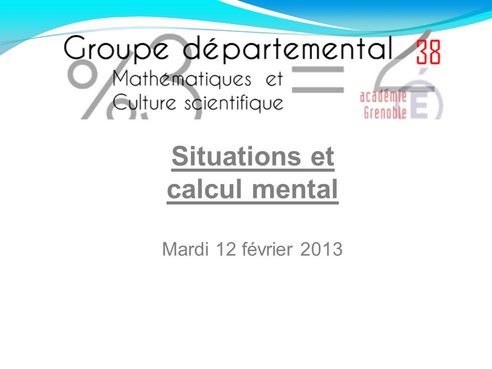 Situations et calcul mental