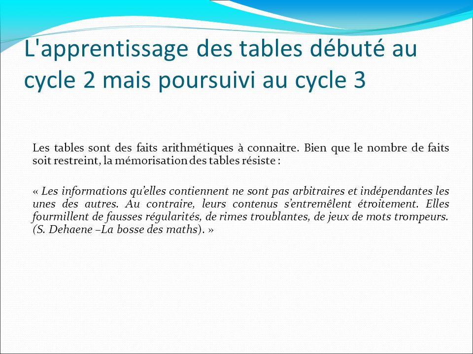 L apprentissage des tables débuté au cycle 2 mais poursuivi au cycle 3