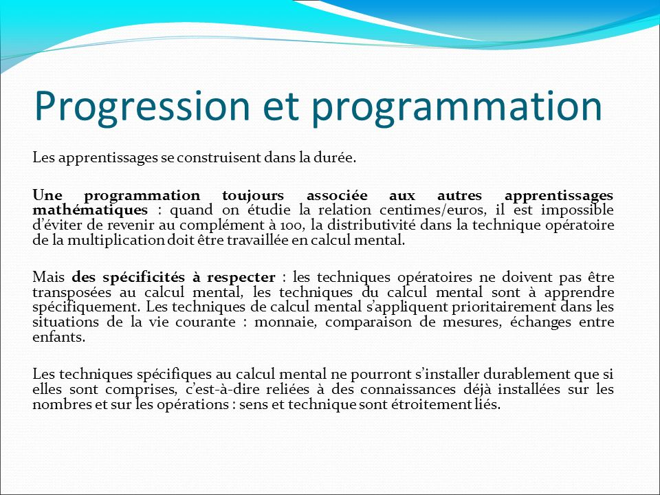 Progression et programmation