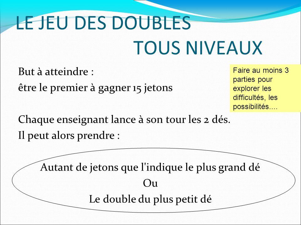 LE JEU DES DOUBLES TOUS NIVEAUX