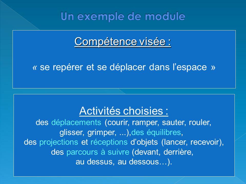 Un exemple de module Compétence visée : Activités choisies :