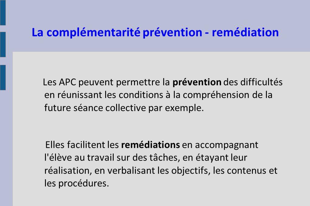 La complémentarité prévention - remédiation