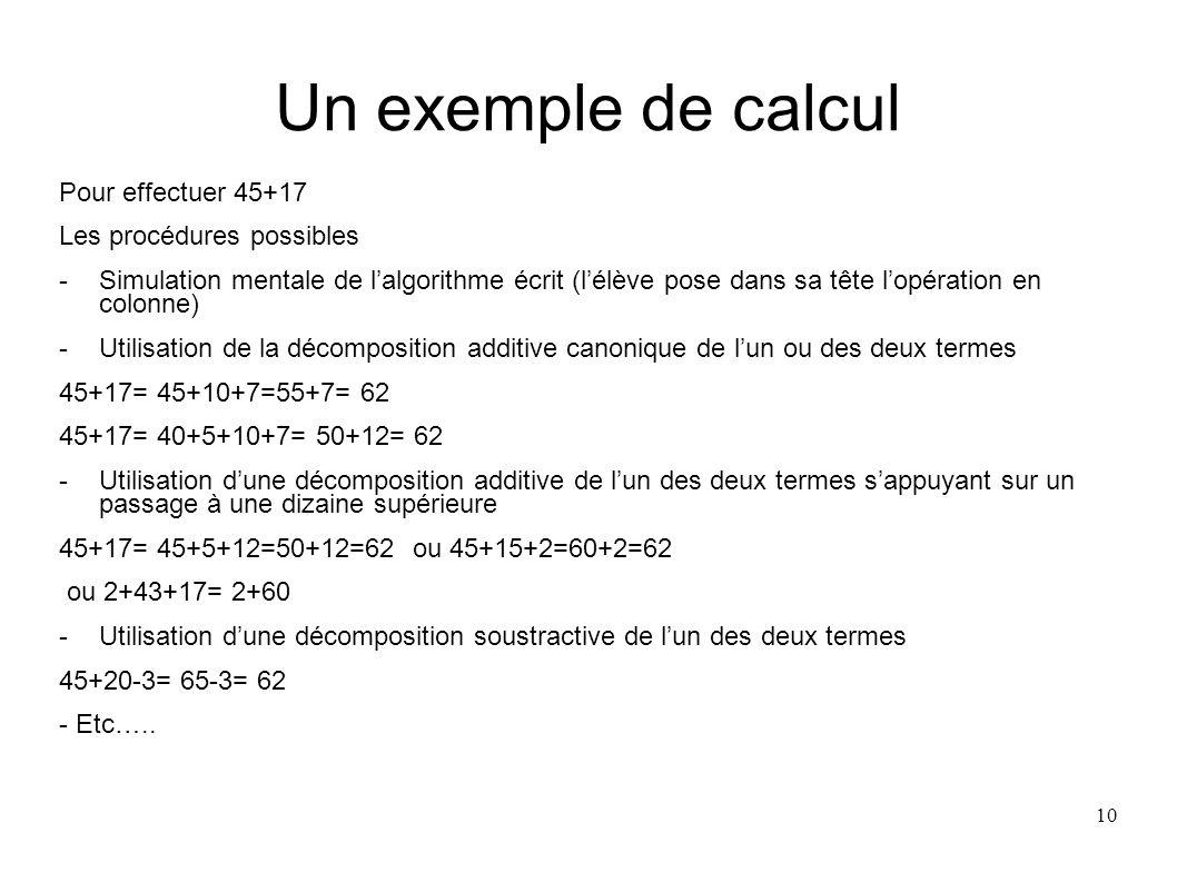 Un exemple de calcul Pour effectuer 45+17 Les procédures possibles