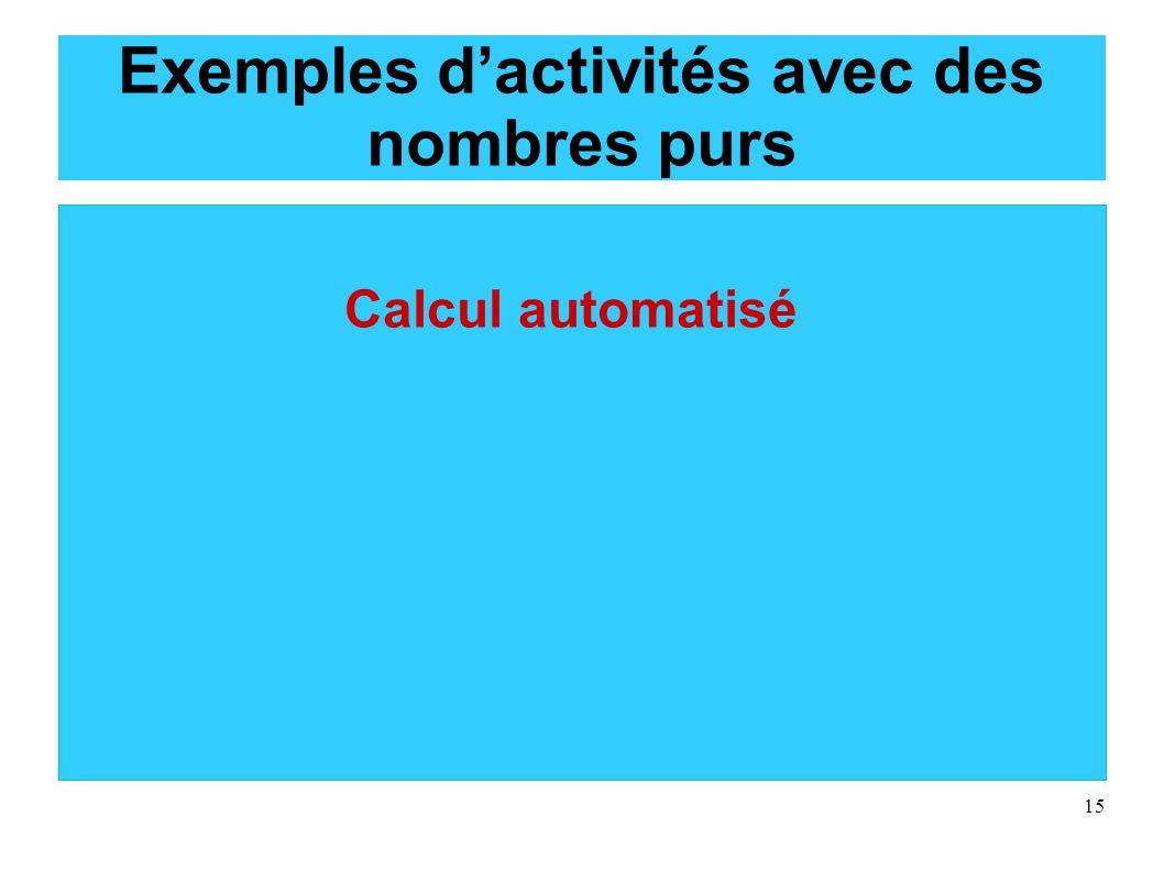 Exemples d'activités avec des nombres purs