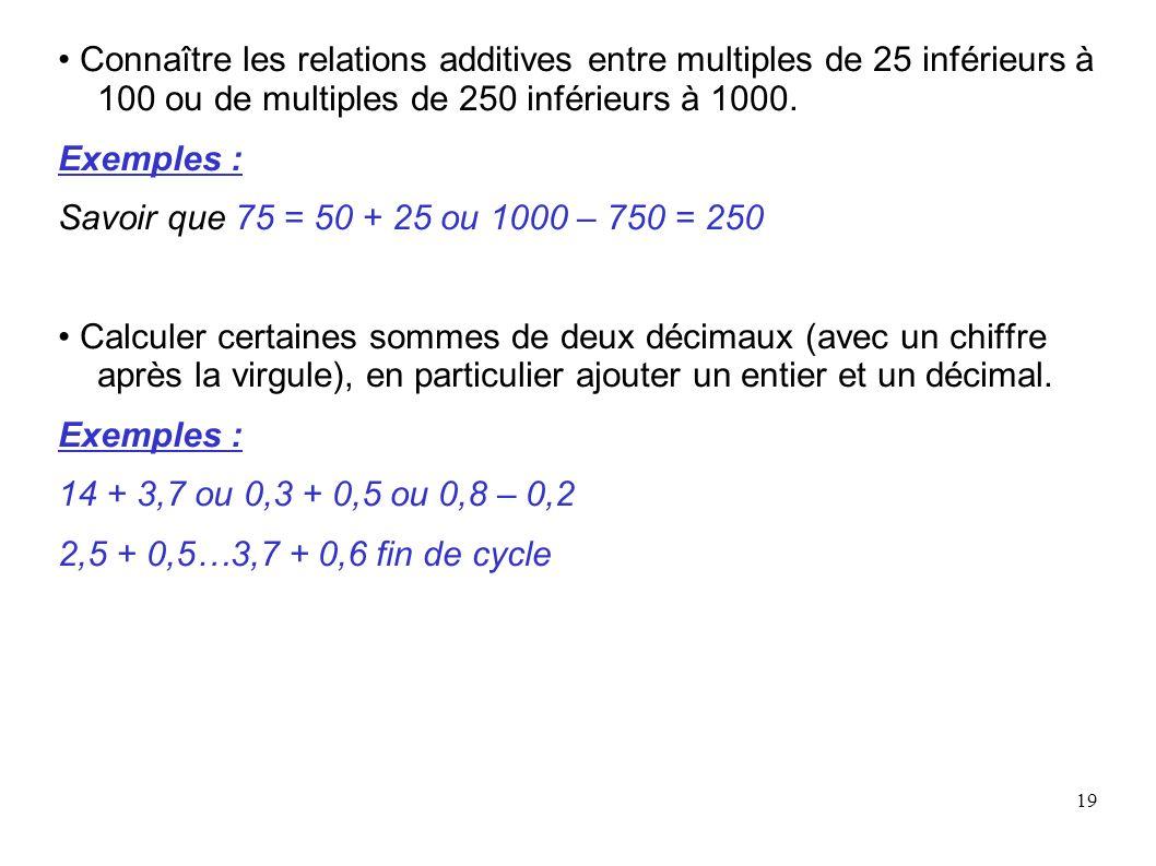 • Connaître les relations additives entre multiples de 25 inférieurs à 100 ou de multiples de 250 inférieurs à 1000.