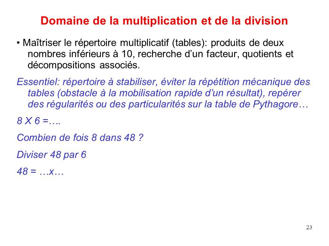 Domaine de la multiplication et de la division