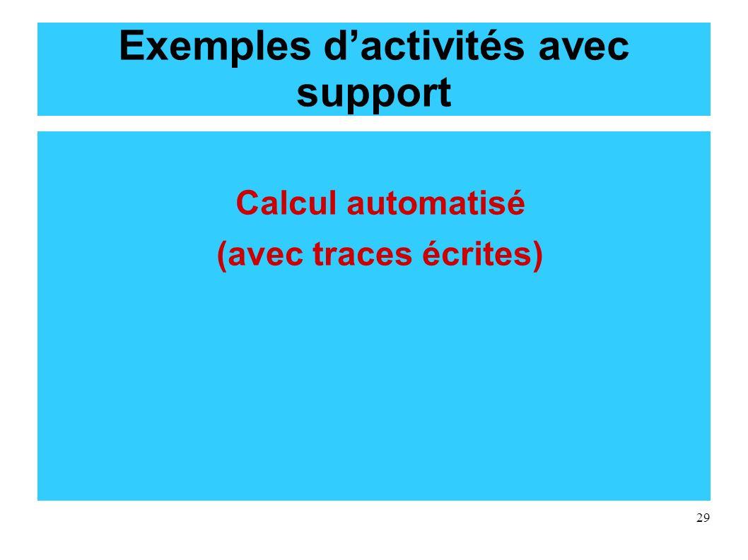 Exemples d'activités avec support