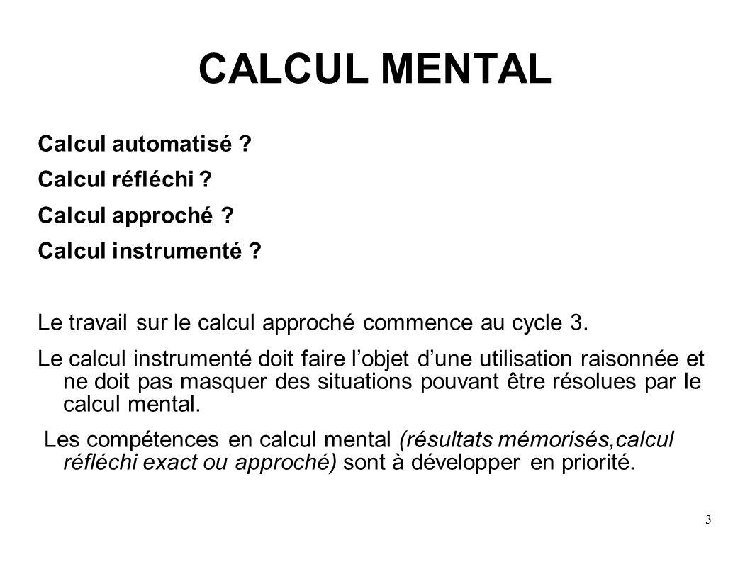 CALCUL MENTAL Calcul automatisé Calcul réfléchi Calcul approché