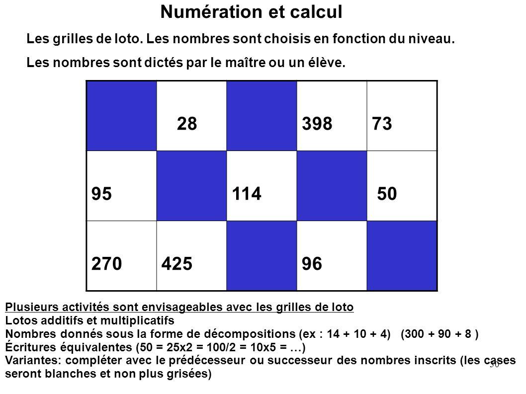 Numération et calcul Les grilles de loto. Les nombres sont choisis en fonction du niveau. Les nombres sont dictés par le maître ou un élève.