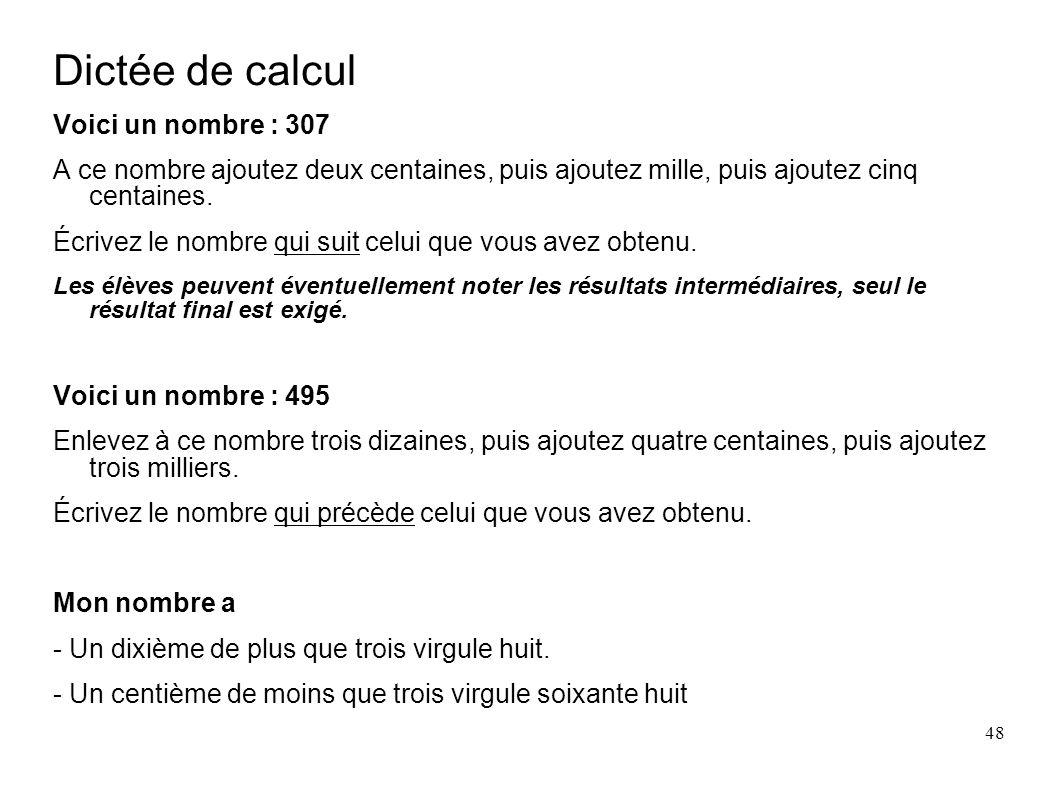 Dictée de calcul Voici un nombre : 307