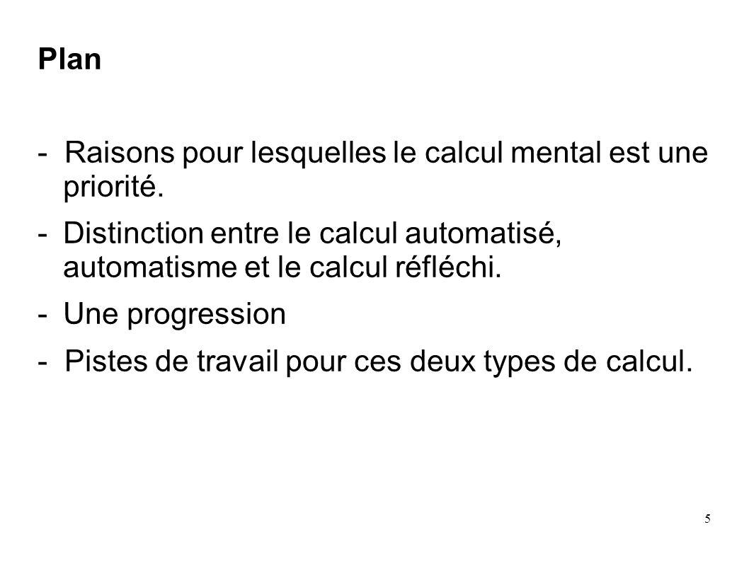 Plan- Raisons pour lesquelles le calcul mental est une priorité. Distinction entre le calcul automatisé, automatisme et le calcul réfléchi.