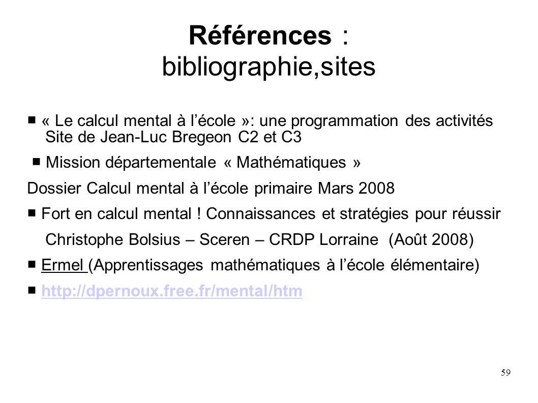 Références : bibliographie,sites