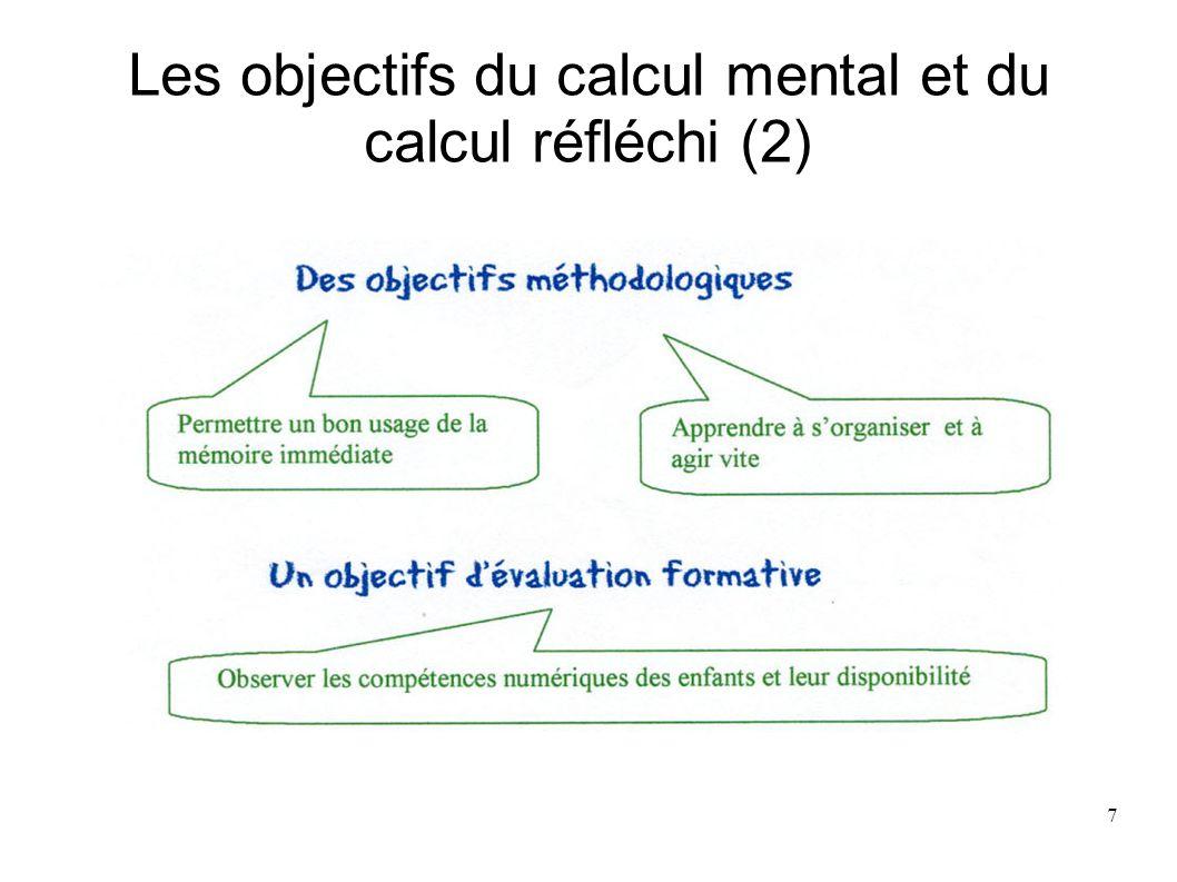 Les objectifs du calcul mental et du calcul réfléchi (2)