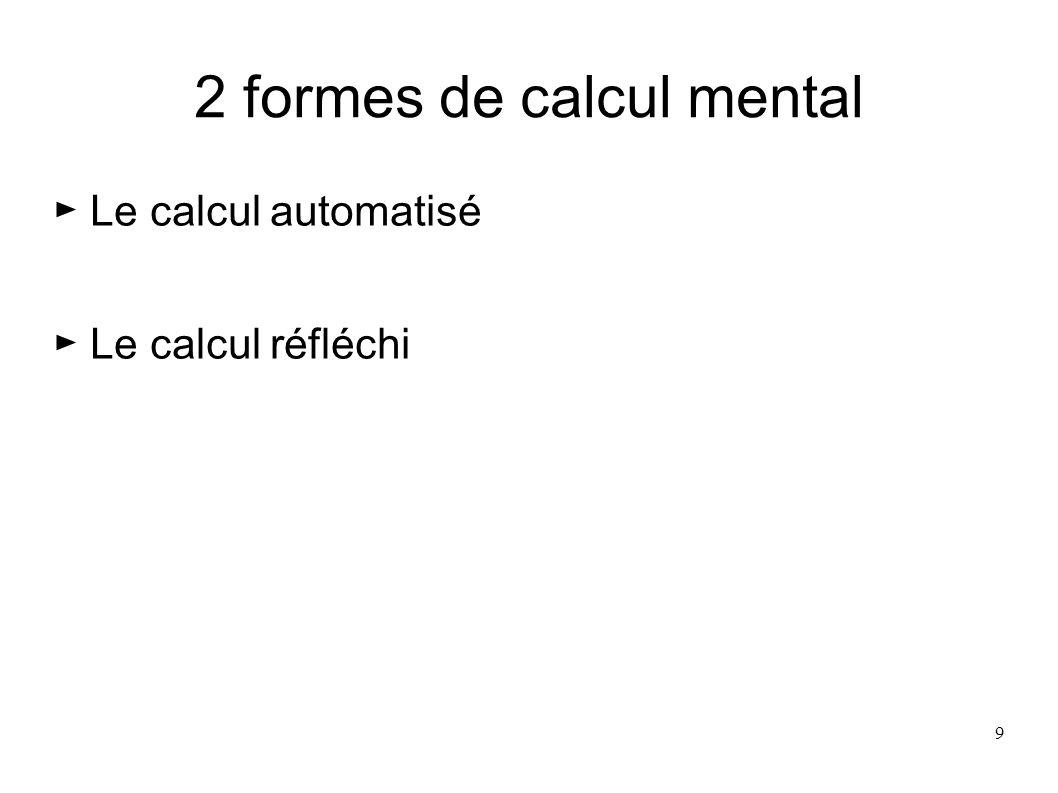 2 formes de calcul mental