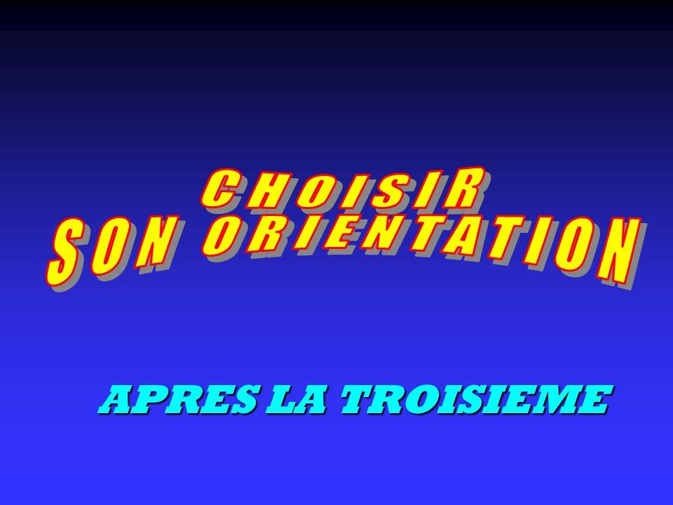 CHOISIR SON ORIENTATION APRES LA TROISIEME